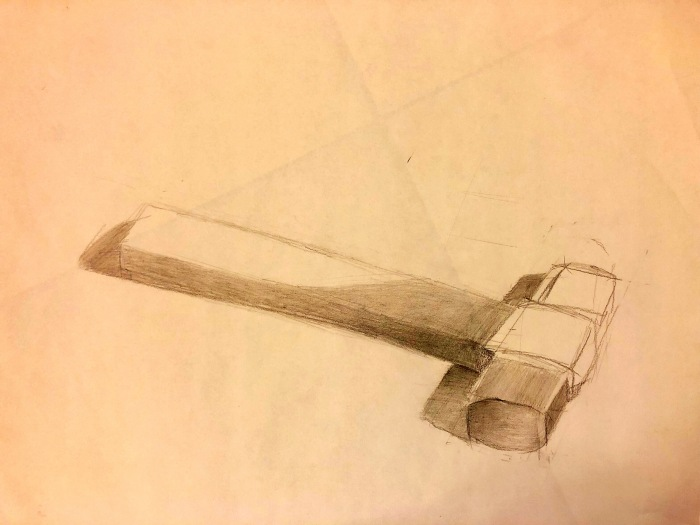 Hammer on floor; Pencil on Paper; 17 in. by 14 in.